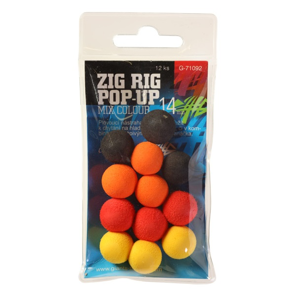 GIANTS FISHING Penové plávacie boilie - Zig Rig Pop-Up 14mm mix color,12ks