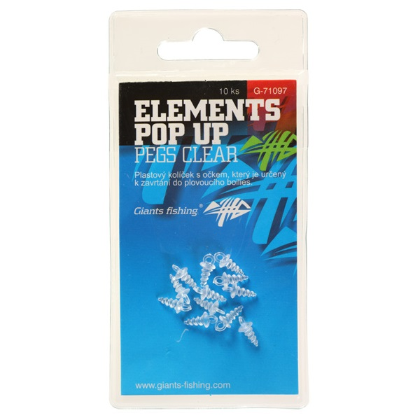 GIANTS FISHING Držiak nástrahy - Elements Pop-Up Pegs Clear,10ks