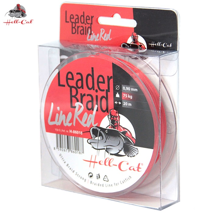 Hell-Cat Splétaná návazcová šňůra Leader Braid Line Red 20m|1.40mm/125kg