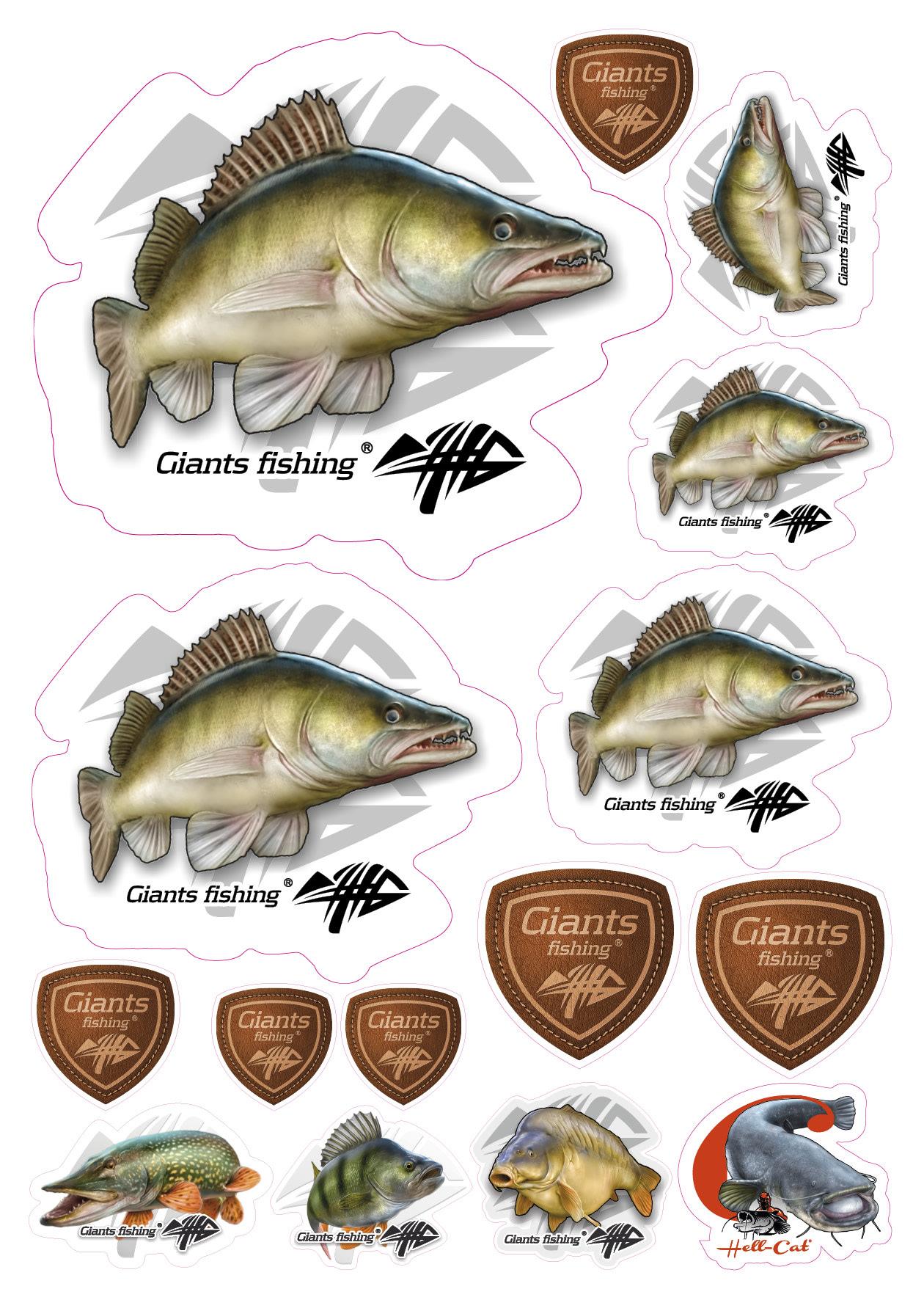 Mix nálepek Giants Fishing Candát ( 15ks )