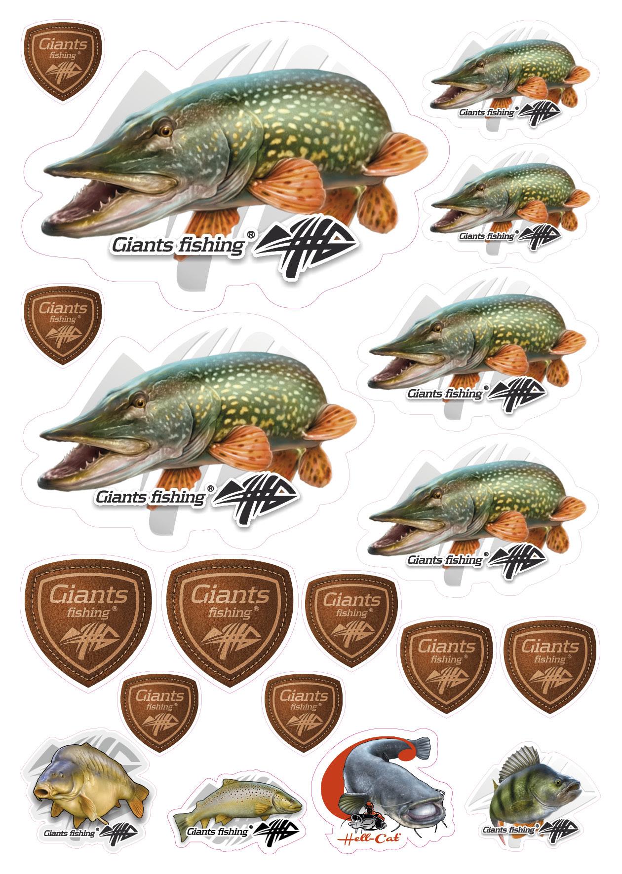 Mix nálepek Giants Fishing Štika ( 19ks )